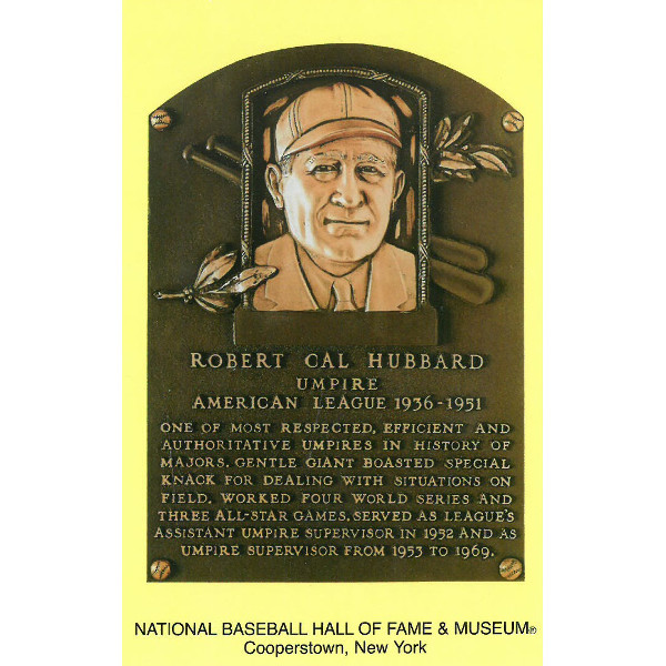 Cal Hubbard Baseball Hall of Fame Plaque Postcard