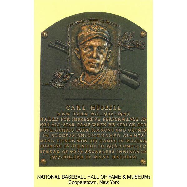 Carl Hubbell Baseball Hall of Fame Plaque Postcard