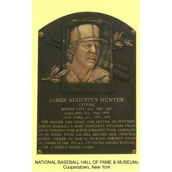 Catfish Hunter Baseball Hall of Fame Plaque Postcard
