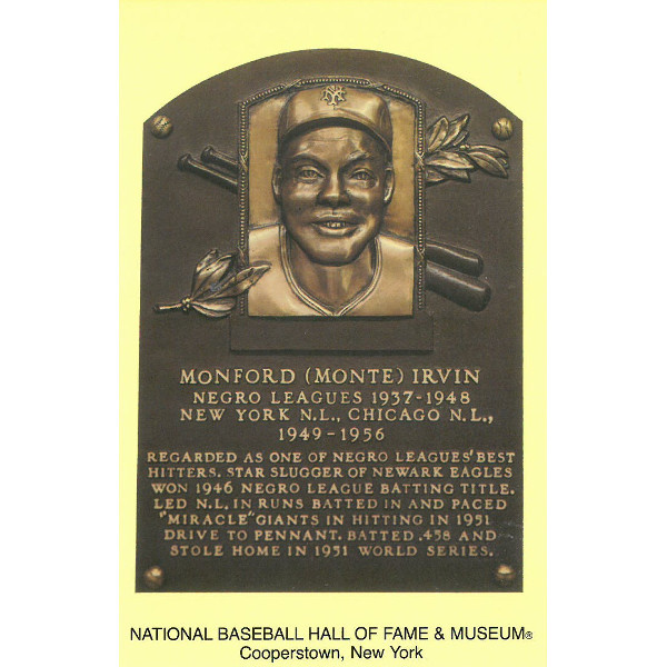 Monte Irvin Baseball Hall of Fame Plaque Postcard