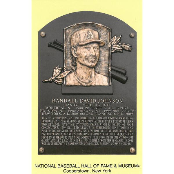 Randy Johnson Baseball Hall of Fame Plaque Postcard