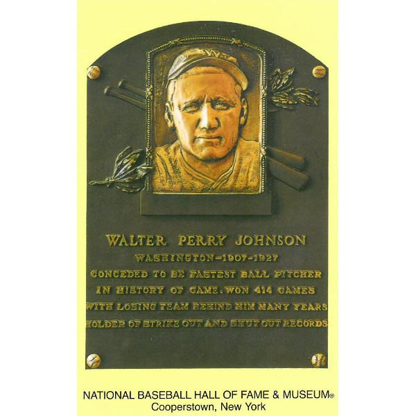 Walter Johnson Baseball Hall of Fame Plaque Postcard