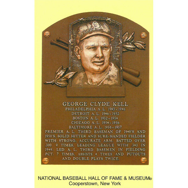George Kell Baseball Hall of Fame Plaque Postcard