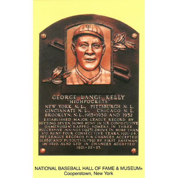 George Kelly Baseball Hall of Fame Plaque Postcard