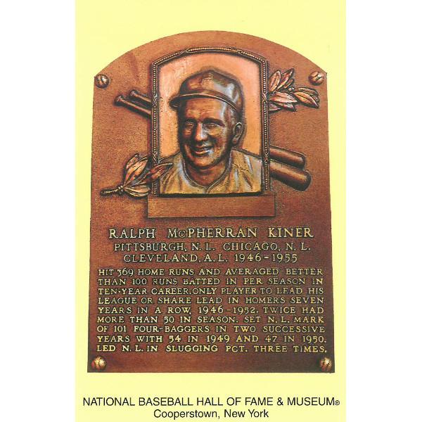 Ralph Kiner Baseball Hall of Fame Plaque Postcard