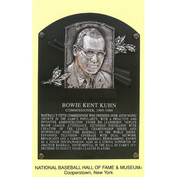 Bowie Kuhn Baseball Hall of Fame Plaque Postcard