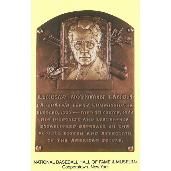 Kenesaw Landis Baseball Hall of Fame Plaque Postcard