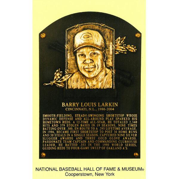 Barry Larkin Baseball Hall of Fame Plaque Postcard