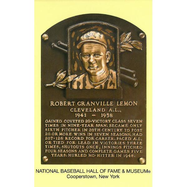 Bob Lemon Baseball Hall of Fame Plaque Postcard