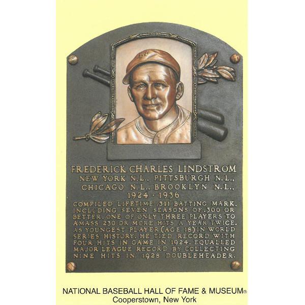 Fred Lindstrom Baseball Hall of Fame Plaque Postcard