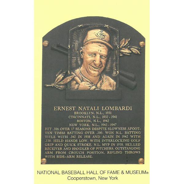 Ernie Lombardi Baseball Hall of Fame Plaque Postcard