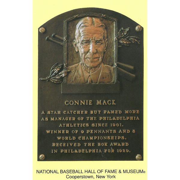 Connie Mack Baseball Hall of Fame Plaque Postcard