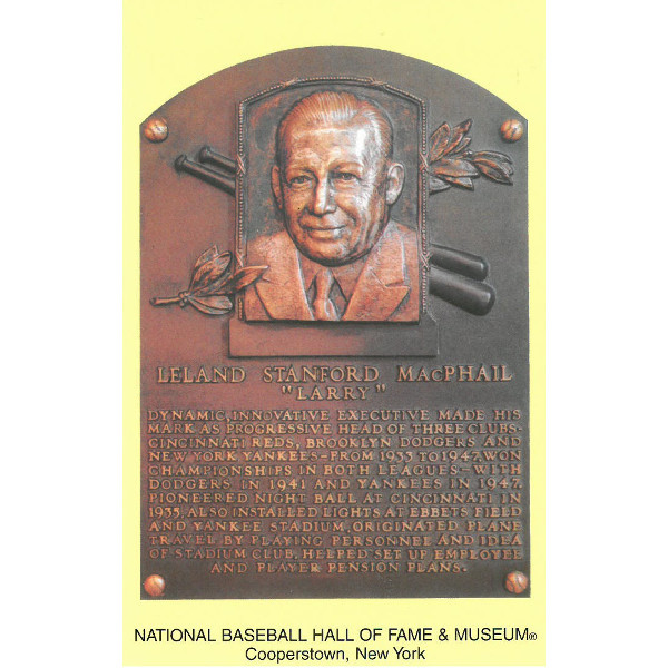 Larry MacPhail Baseball Hall of Fame Plaque Postcard