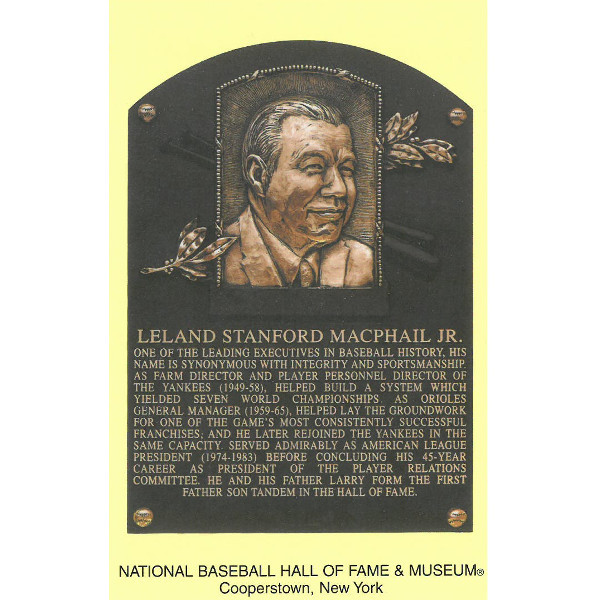 Lee MacPhail Baseball Hall of Fame Plaque Postcard