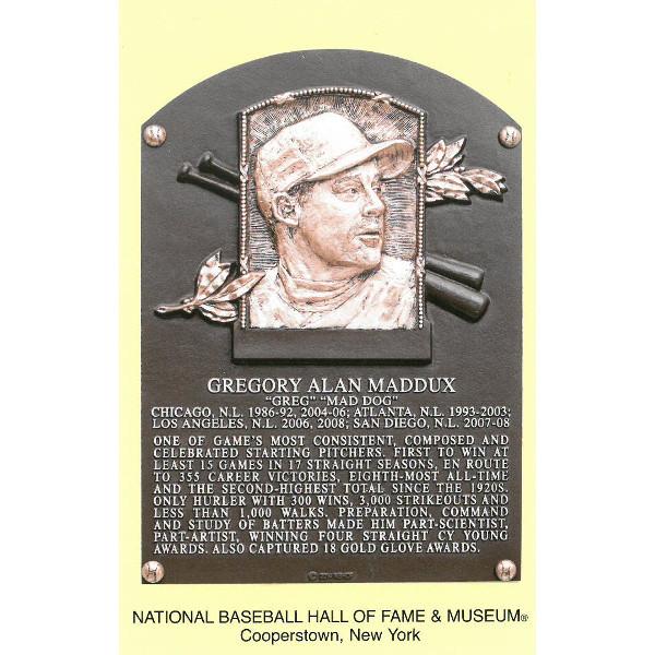 Greg Maddux Baseball Hall of Fame Plaque Postcard