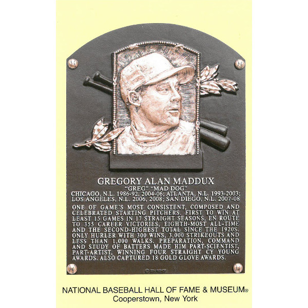 Greg Maddux Baseball Hall of Fame Plaque Postcard