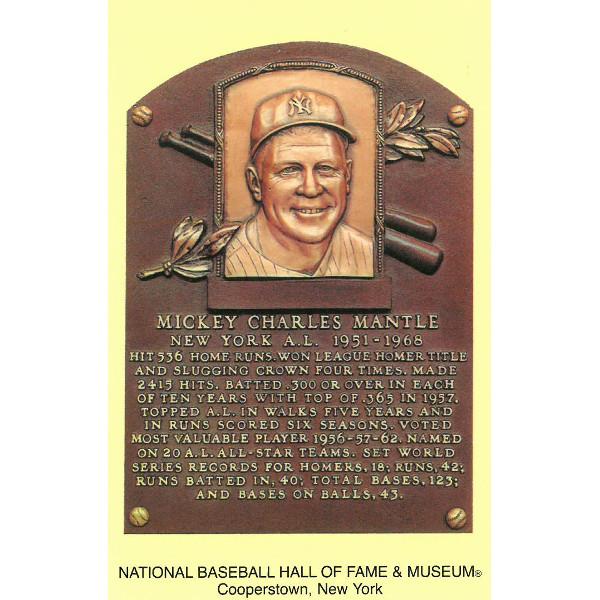 Mickey Mantle Baseball Hall of Fame Plaque Postcard