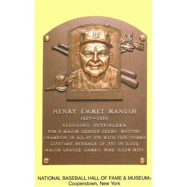 Heinie Manush Baseball Hall of Fame Plaque Postcard