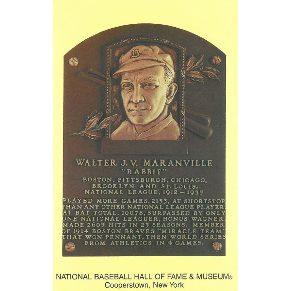 Rabbit Maranville Baseball Hall of Fame Plaque Postcard