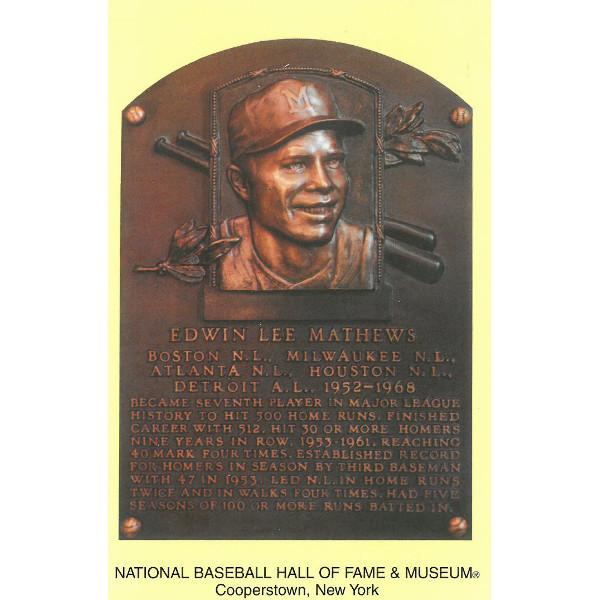 Eddie Mathews Baseball Hall of Fame Plaque Postcard