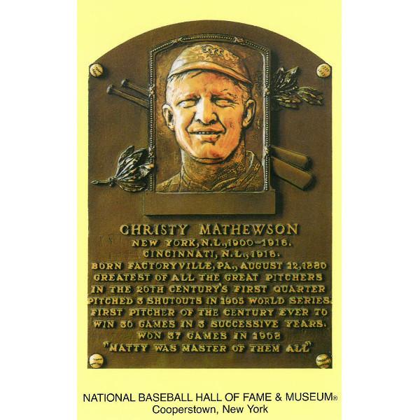Christy Mathewson Baseball Hall of Fame Plaque Postcard