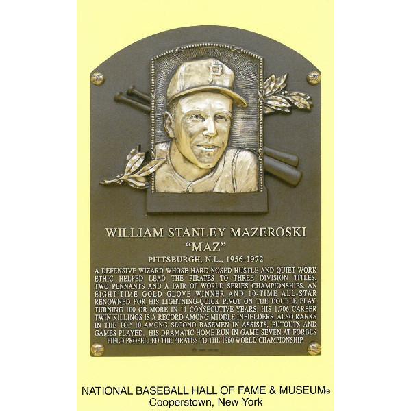 Bill Mazeroski Baseball Hall of Fame Plaque Postcard