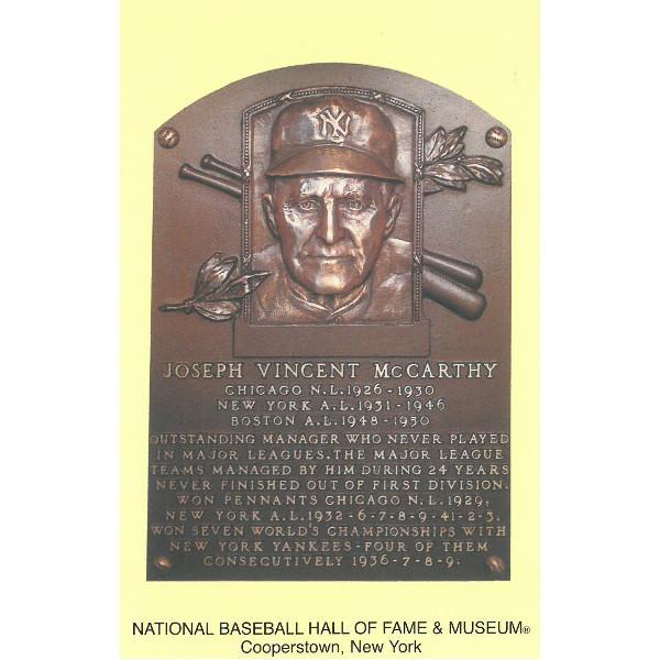 Joe McCarthy Baseball Hall of Fame Plaque Postcard