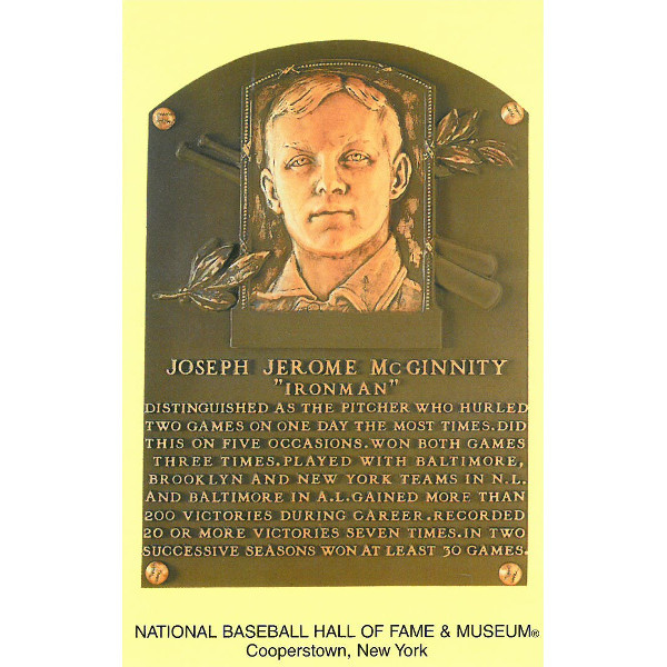Joe McGinnity Baseball Hall of Fame Plaque Postcard