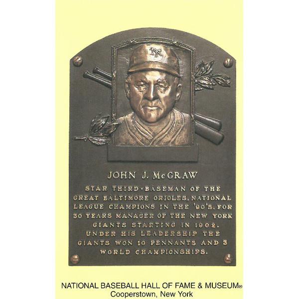 John McGraw Baseball Hall of Fame Plaque Postcard