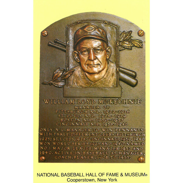 Bill McKechnie Baseball Hall of Fame Plaque Postcard