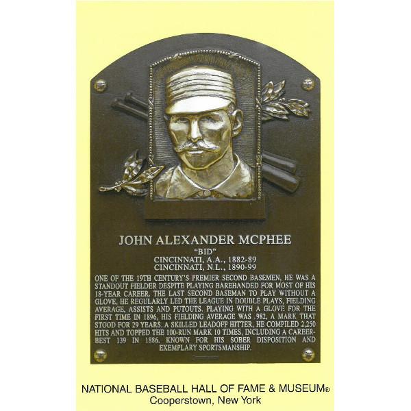 Bid McPhee Baseball Hall of Fame Plaque Postcard
