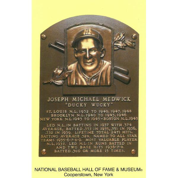 Joe Medwick Baseball Hall of Fame Plaque Postcard