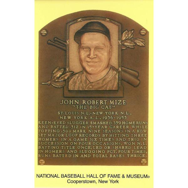 Johnny Mize Baseball Hall of Fame Plaque Postcard