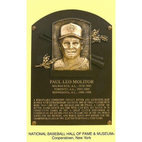 Paul Molitor Baseball Hall of Fame Plaque Postcard