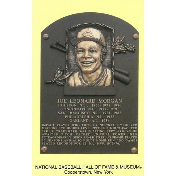 Joe Morgan Baseball Hall of Fame Plaque Postcard