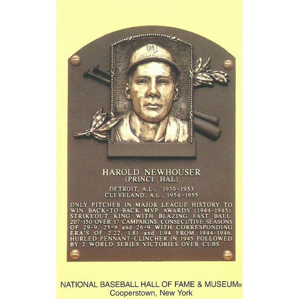 Hal Newhouser Baseball Hall of Fame Plaque Postcard