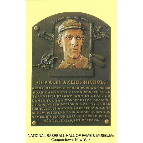 Kid Nichols Baseball Hall of Fame Plaque Postcard