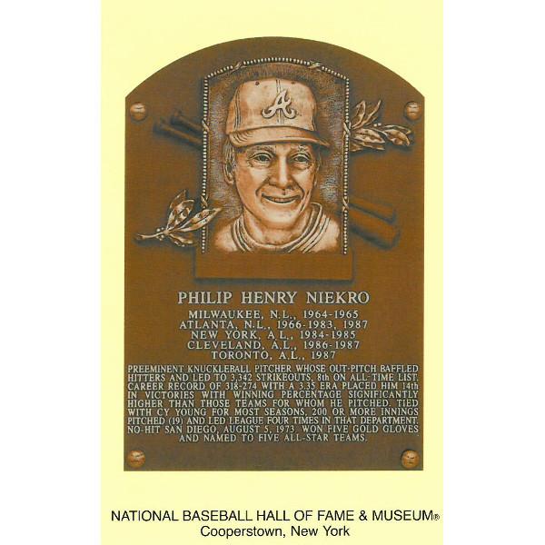 Phil Niekro Baseball Hall of Fame Plaque Postcard