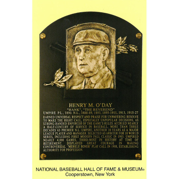 Hank O'Day Baseball Hall of Fame Plaque Postcard