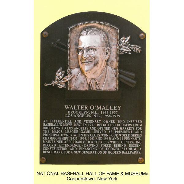 Walter O'Malley Baseball Hall of Fame Plaque Postcard