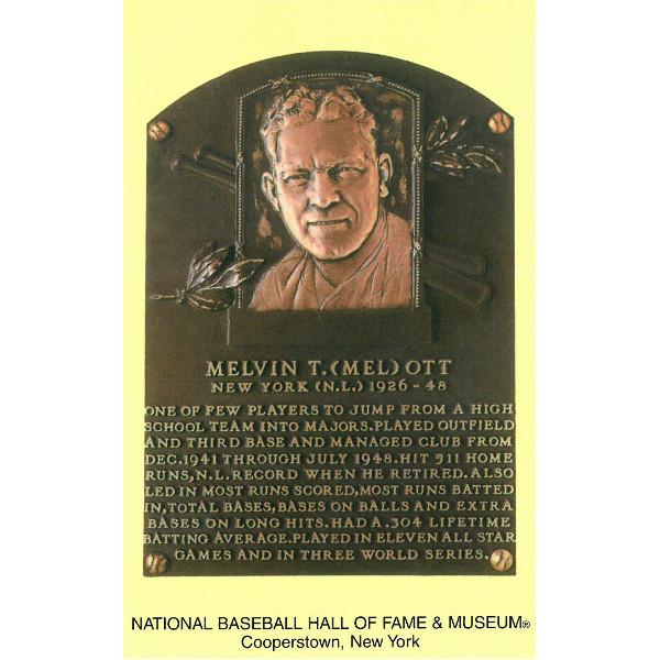 Mel Ott Baseball Hall of Fame Plaque Postcard
