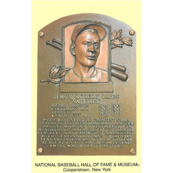 Satchel Paige Baseball Hall of Fame Plaque Postcard