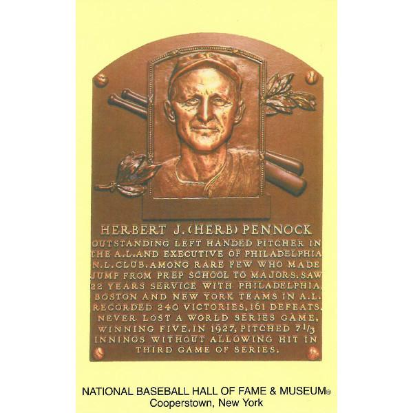 Herb Pennock Baseball Hall of Fame Plaque Postcard