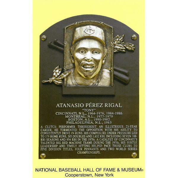 Tony Perez Baseball Hall of Fame Plaque Postcard