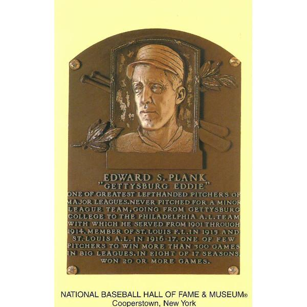 Eddie Plank Baseball Hall of Fame Plaque Postcard