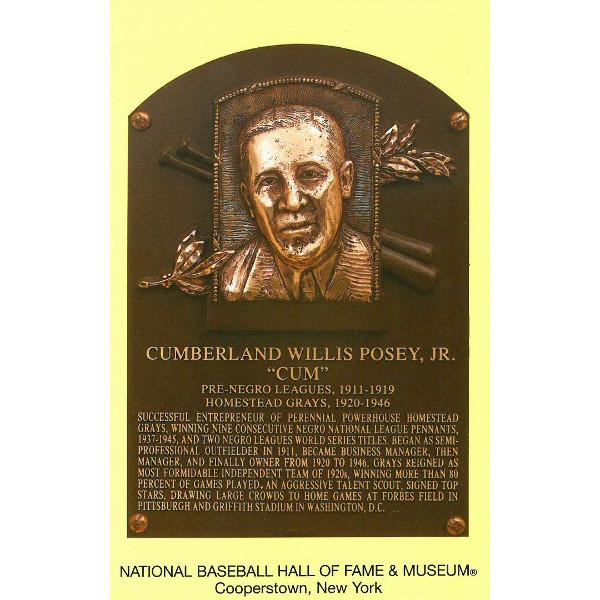 Cumberland Posey Baseball Hall of Fame Plaque Postcard