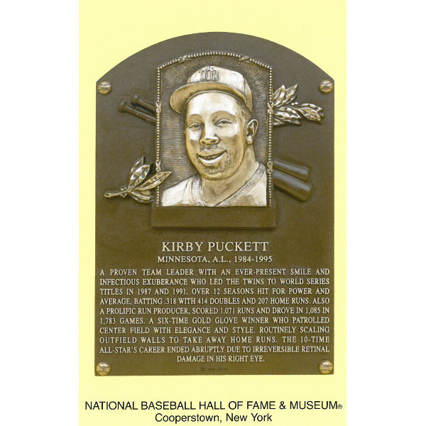 Kirby Puckett Baseball Hall of Fame Plaque Postcard