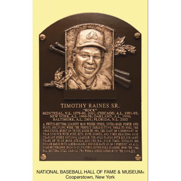 Tim Raines Baseball Hall of Fame Plaque Postcard