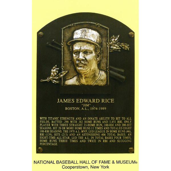 Jim Rice Baseball Hall of Fame Plaque Postcard