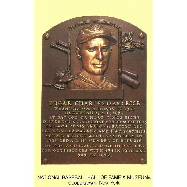 Sam Rice Baseball Hall of Fame Plaque Postcard